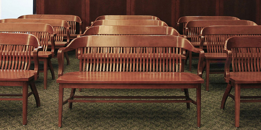 68 Inch Courthouse Bench Installation