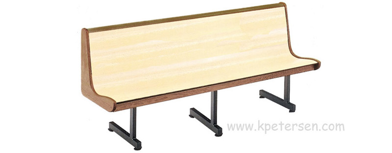 Curved Laminated Plastic Seat with Wood End Panels Restaurant Waiting Bench