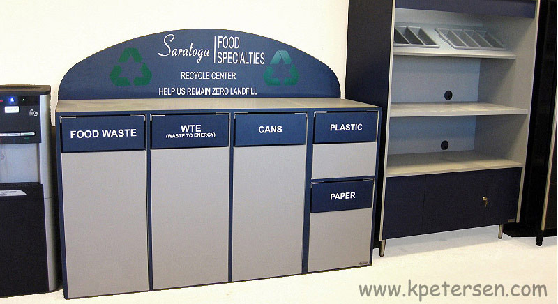 Custom Recycling Cabinet For Employee Cafeteria