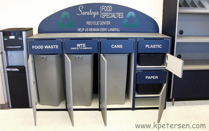 Custom Recycling Cabinet For Employee Cafeteria Interior View