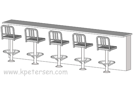 Aluminum Deco Soda Fountain Counter Stool Spacing ISO View