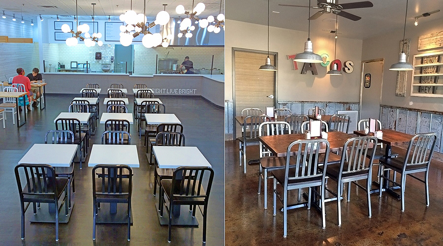 Restaurant Dining Rooms with Deco Steel Restaurant Chairs with Wood Seat and Industrial Clearcoat Finish