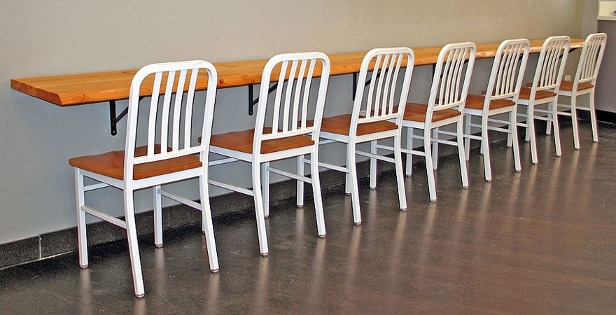 Deco Steel Restaurant Chairs with Wood Seat and White Frame