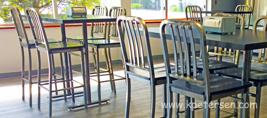 Deco Steel Bar Stool Employee Cafeteria Installation Photo