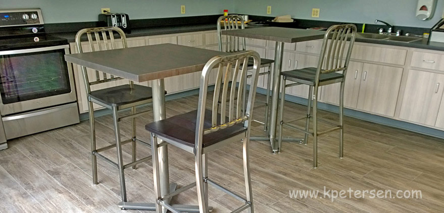 Deco Steel Bar Stools with Wood Seat Employee Lunchroom