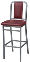 Deco Steel Bar Stool with Upholstered Seat and Upholstered Back
