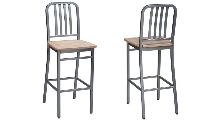 Deco Steel Bar Stool with Wood Seat and Industrial Clearcoat Finish