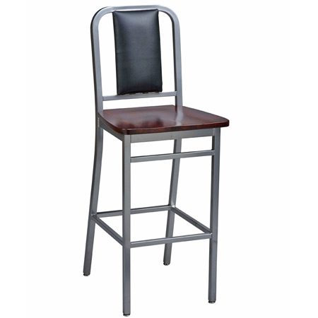 Deco Steel Bar Stool with Wood Seat and Upholstered Back