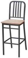 Deco Steel Restaurant Bar Stool with Wood Seat