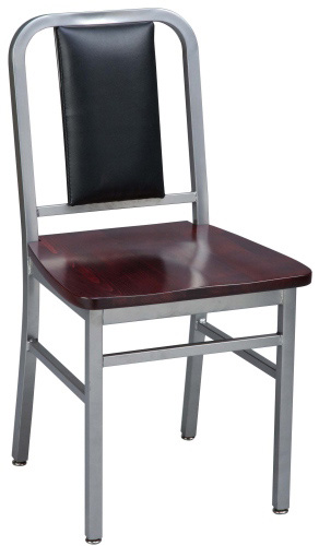 Deco Steel Restaurant Chair with Dark Finish Wood Seat and Upholstered Back