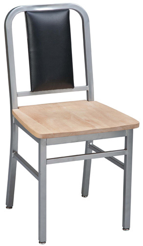 Deco Steel Restaurant Chair with Light Natural Wood Seat and Upholstered Back