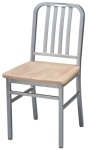 Deco Steel Restaurant Chair with Wood Seat