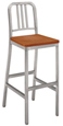 Art Deco Style Wood Seat Aluminum Bar Stool