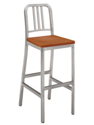 Deco Aluminum Barstool With Medium Stained Wood Veneer Seat