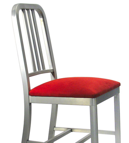 Decodina Aluminum Deco Chair With Upholstered Seat Detail View