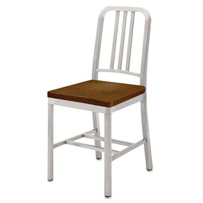 Deco Aluminum Chair With Stained Wood Veneer Seat