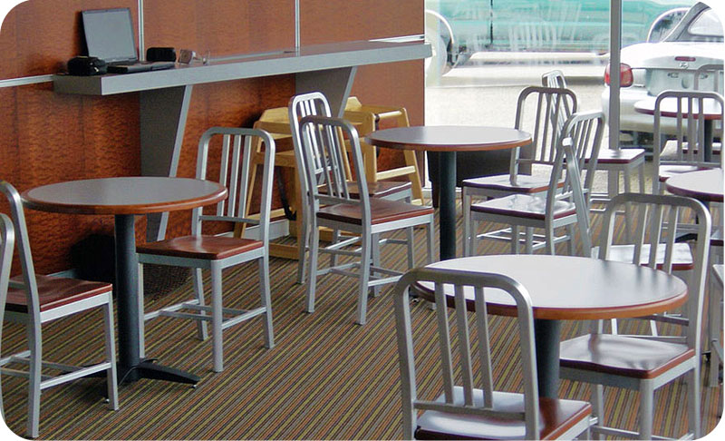 Decodina Deco Style Aluminum Chair With Wood Veneer Seat Restaurant Installation