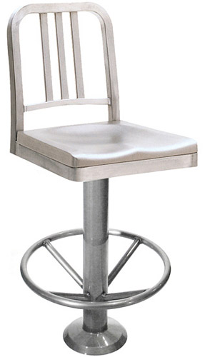 Decodina Aluminum Soda Fountain Bolt Down Counter Stool With Footrest