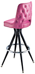 Diamond Tufted Upholstered Barstool With Open Back
