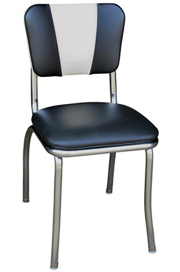 QUICKSHIP V Back Chrome Diner Chair Black and White Vinyl