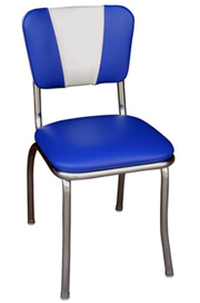 QUICKSHIP V Back Chrome Diner Chair Blue and White Vinyl