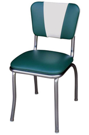 QUICKSHIP V Back Chrome Diner Chair Green and White Vinyl