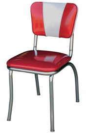 QUICKSHIP V Back Chrome Diner Chair Zodiac Glitter Burgundy Red and Glitter Silver Vinyl