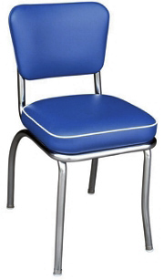 QUICKSHIP Deluxe Chrome Diner Chair Blue and White Vinyl