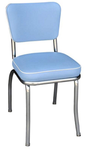 QUICKSHIP Deluxe Chrome Diner Chair Zodiac Bristol Blue and White Vinyl