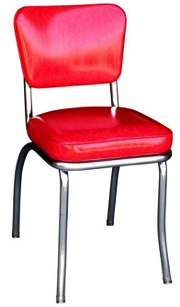 QUICKSHIP Deluxe Chrome Diner Chair Red Cracked Ice Vinyl