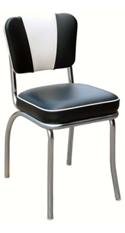 QUICKSHIP V Back Deluxe Chrome Diner Chair Black and White Vinyl