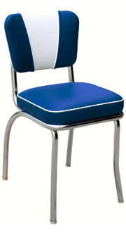 QUICKSHIP V Back Deluxe Chrome Diner Chair Blue and White Vinyl