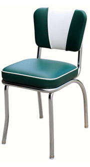 QUICKSHIP V Back Deluxe Chrome Diner Chair Green and White Vinyl
