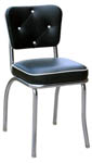 QUICKSHIP Diamond Tufted Back Diner Chair Black and White Vinyl