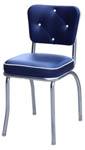 QUICKSHIP Diamond Tufted Back Diner Chair Blue and White Vinyl