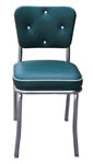 QUICKSHIP Diamond Tufted Back Diner Chair Green and White Vinyl