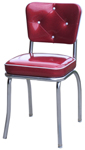 QUICKSHIP Diamond Tufted Back Diner Chair Zodiac Burgundy Red and Silver Glitter Vinyl