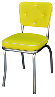 QUICKSHIP Diamond Tufted Chrome Diner Chair Yellow and White Vinyl