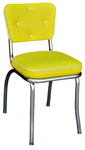 QUICKSHIP Diamond Tufted Back Diner Chair Yellow and White Vinyl