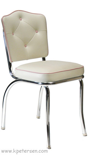 Cathedral Back Chrome Diner Chair 2 Inch Thick Seat