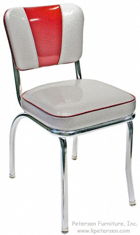 Deluxe V Back Diner Restaurant Chair Red and Silver Glitter Vinyl
