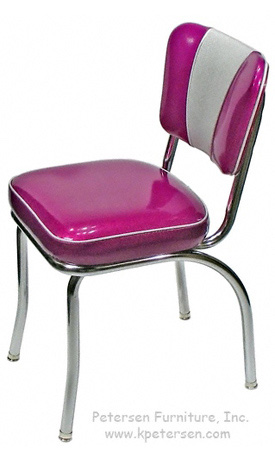 Deluxe V Back Diner Restaurant Chair Silver and Fuscia Glitter Vinyl