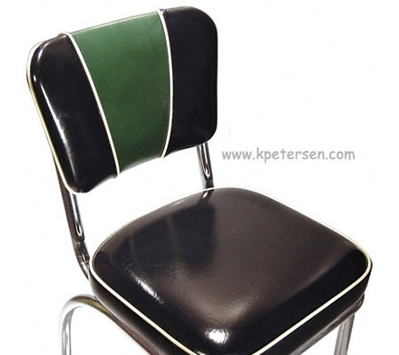Deluxe V Back Diner Restaurant Chair Green and Black Detail