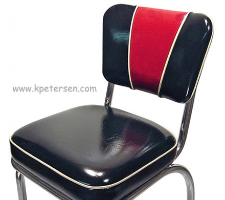 Deluxe V Back Diner Restaurant Chair Red and Black Detail