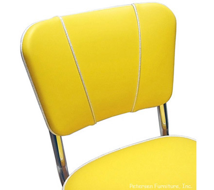 Deluxe V Back Diner Restaurant Chair Yellow and Silver Detail