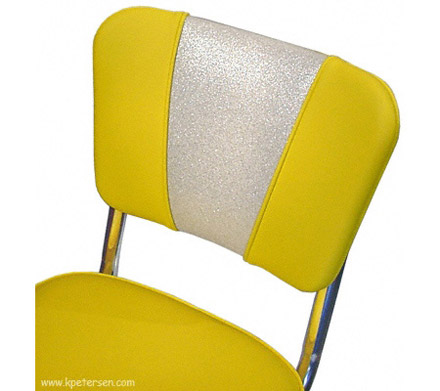 Deluxe V Back Diner Restaurant Chair Silver and Yellow Detail
