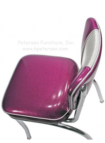 Deluxe V Back Diner Restaurant Chair Silver and Fuscia Glitter Vinyl Overhead View