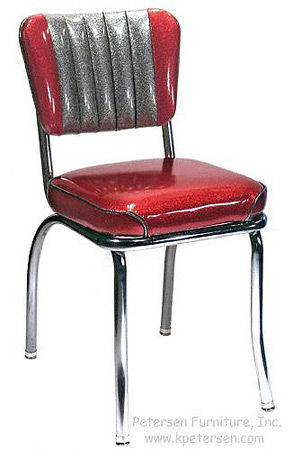Chrome Diner Chair Two Tone Deluxe Channel Back
