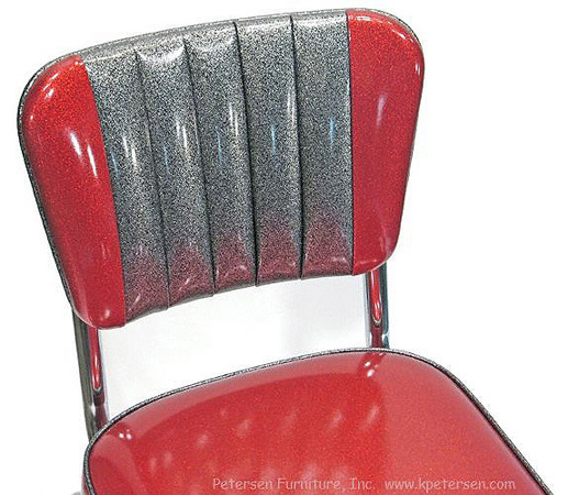 Chrome Diner Chair Two Tone Deluxe Channel Back Detail