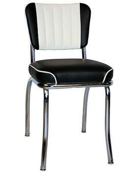 QUICKSHIP Chrome Diner Chair Two Tone Deluxe Channel Back Black and White Vinyls